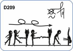 2/1 TURNS WITH LEG AT HORIZONTAL TO FREE VERTICAL SPLIT