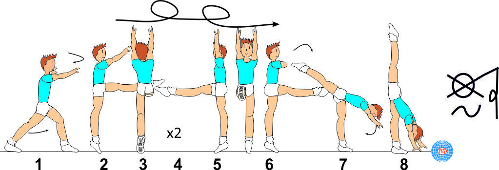 2/1 TURNS WITH LEG AT HORIZONTAL TO VERTICAL SPLIT