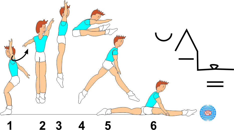 ½ TURN STRADDLE JUMP TO SPLIT